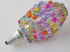 BULB COVER CRYSTALS CHANDELIER GLASS BEAD LIGHT CANDLE DROPS PASTEL COLOUR SHADE