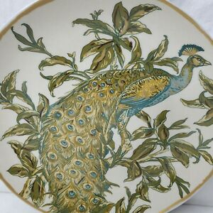 """Pottery Barn Peacock Plate Art Nouveau Style Gold Trim Turquoise Green 9.5"""""""