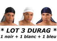 BANDANA SATIN NOIR + BLANC + BLEU DURAG DU-RAG CAPS DANSE HIP HOP BREAK RAP CAP