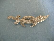 Pin With Clear Crystals Silver Toned Sword Brooch Or