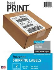 "Ebay Shipping-- Best Print ® 200 Labels Half Sheet 8.5 x 5"" 2 Per Sheet 2 UP"