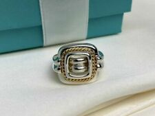 Tiffany & Co. Silver 925 & 18k Yellow Gold Rope Square Band Ring 16mm