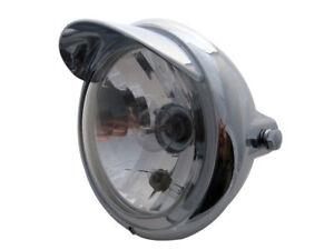 Retro Motorcycle Motorbike Headlight with Peak Custom Chrome 12V 35W - BLEMISHED
