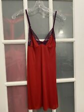 Victoria's Secret red and purple lace trim chemise slip nightie gown size M