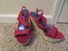 NEW WOMENS LUI JIMMY RED SUEDE ANKLE BUCKLE WEDGES W/GOLD STUDS SIZE 9M