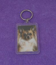 LONG HAIRED CHIHUAHUA -  KEY CHAIN - PHOTO IN PLASTIC CASE