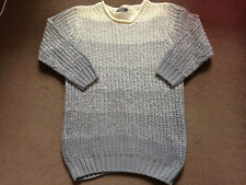 SOUTH GREY CREAM RIBBED WINTER JUMPER SIZE 12
