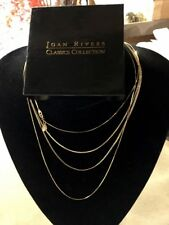 New Joan Rivers Set Four Necklace Nesting Gold Chain Wardrobe, Gift Boxed