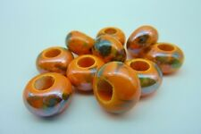 Vibrant Orange Pearlized Porcelain Rondelle Beads 15mm x 10mm Macrame Projects