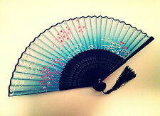Bamboo Silk Hand Fan Fandfan in Cherry Blossom and Mandarin duck desig Green