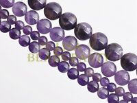 20pcs 8mm Round Natural Amethyst Stone Gemstone Loose Spacer Beads Findings