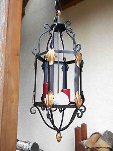 Lanterna Ferro Battuto Con Catena Per 3 Candele,Candelabro,Portacandela