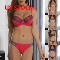 Women Bra Embroidery Lace Lingerie Underwear Push-Up Padded Bra Underwire Set US