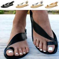 Summer Womens Flip Flops Beach Sandals Casual Toe Ring Flat Slingback Shoes Size