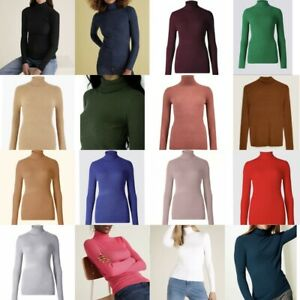 Ladies Ex M&S Ribbed Roll Neck Jumper Polo Turtleneck Knit Pullover Body Top 360