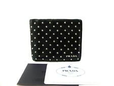Authentic PRADA Compact Bi-fold Wallet Studed Leather Black