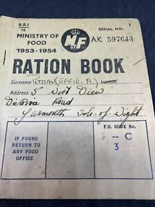 Post Second World War Ration Book Ministry Of Food 1953-54 Isle Wight Pitman