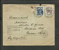 LATVIA 1935 REGISTERED COVER TO ARGENTINA, LIEPAJA CANCEL, NICE