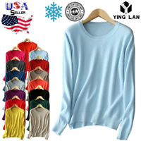 Womens Cashmere Loose Pullover Crew Neck Knit Sweater Cardigans Jumpers US STOCK