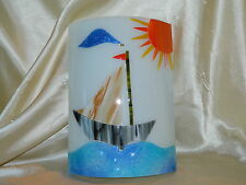 Stained Glass Lighting Sconce Shade Nautical Sail Boat Handmade Colorful New