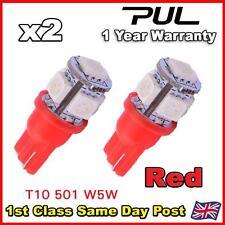 2 X 5 Smd Led 501 T10 W5w Push Cuña 360 Hid lado Rojo Bombilla de luz