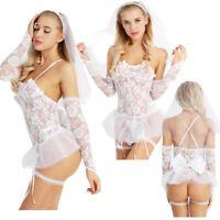 Women Sexy Lace Outfit Bride Lingerie Cosplay Costume Mesh Babydoll G-string