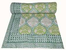 Indian Floral Hand block Print Kantha Quilt,Blanket Cotton Queen Bedspread Thro