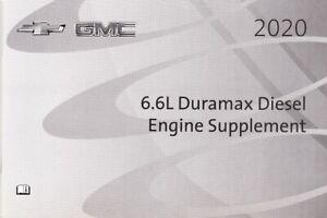 2020 Chevrolet GMC 6.6L Duramax Diesel Engine Owners Manual Supplement 8631A