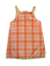 Spudkids Girls Toddler Orange Green Chequered Tunic Dress Pinafore Size 2 Cotton