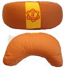 Coussin de méditation Demi-Lune - Zafu Yoga - Orange - Cosse de sarrasin