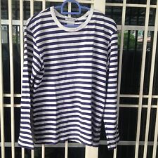 agnes b long sleeve t-shirt stripe navy blue & white colours small size