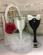Bride And Groom Toasting Champagne Flutes Wedding gift set black white