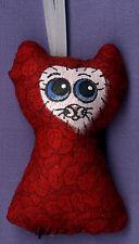 TAMBRA Christmas RED Leaves Blue Eyes CAT Folk Art Original MINI Doll ORNAMENT
