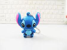 4x4cm Blue Cute Stitch Figure key Chain Pendant Cartoon Toy Gift Collection Xmas