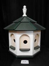 Large Poly Amish Gazebo Birdhouse Post Mount Yard Handcrafted White & Green Roof