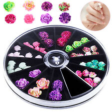 3D Rose Flower Nail Art Charm Beads Colorful Resin Nail Tips Manicure Wheel DIY