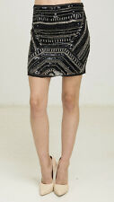 ANGL BEADED SEQUIN EMBELLISHED MINI SKIRT Size S Small NWT Black Silver Sexy