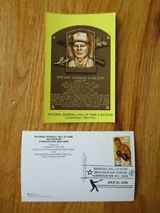 STEVE CARLTON Induction HALL OF FAME Plaque July 31 1994 CANCELED Stamp PHILLIES