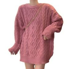Womens Oversize Warm Knitted Sweater Pullover Crewneck Long Sleeve Tops Korean D