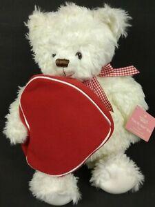 "2003 Hallmark ""From My Heart"" White 14"" Teddy Bear Plush + Zipper Heart Gift Bag"