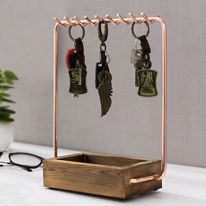 MyGift Rose Gold Tone Tabletop Entryway Key Holder Hooks with Burnt Wood Tray