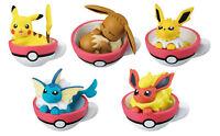 Full set 5 pcs Bandai Pokemon Sun&Moon Tea Cup Time 5 Figure Eevee Pikachu