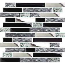 5 Sq Feet Black Silver Glass Tile Kitchen Backsplash Mosaic Art Decor Bath Wall
