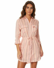 Tag Billabong Ladies Sun Dazed (10) Shirt Dress Womens Casual Bisque