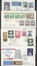 AUSTRIA 1960s SIX REGISTERED AIR MAIL COVERS TO US WITH VARIOUS FRANKINGS