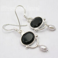 Black Onyx Vintage Style Dangling Earrings Solid Sterling Silver Gemstone