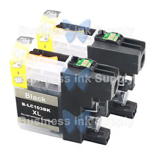 2 BLACK New Chip LC103XL 101 Ink Cartridge for Brother MFC-J650DW MFC-J870DW