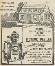 Z9800 Moteur DEVILLE -  Pubblicità d'epoca - 1923 Old advertising