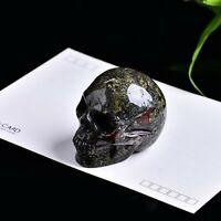 natural Hand Carved Flower Green Stone Skull Crystal Skull Gemstone 1PC