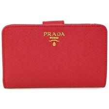 Prada Bi-fold Zip Saffiano Leather Wallet - Fuoco